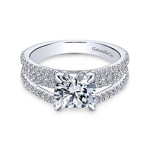 Gabriel & Co 14K White Gold Round Diamond Engagement Ring  ER13662R6W44JJ