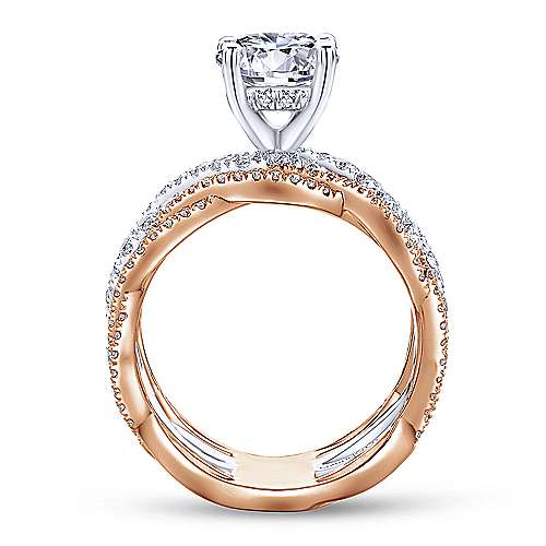 Gabriel & Co 14K White-Rose Gold Round Diamond Twisted Engagement Ring ER13684R6T44JJ