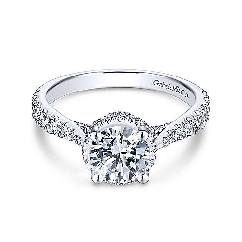 Gabriel & Co 14K White Gold Round Diamond Engagement Ring  ER13853R4W44JJ