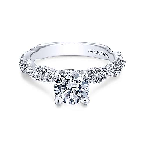 Gabriel & Co 14K White Gold Round Diamond Twisted Engagement Ring ER13878R4W44JJ