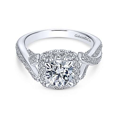 Gabriel & Co 14K White Gold Round Diamond Halo Engagement Ring ER13886R4W44JJ