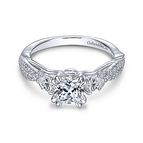 Gabriel & Co 14K White Gold Cushion Cut Three Stone Diamond Engagement Ring  ER13900C4W44JJ