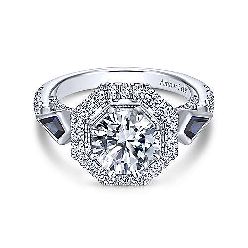 Gabriel & Co 18K White Gold Round Sapphire and Diamond Engagement Ring  ER13974R6W83SA