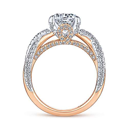 Gabriel & Co 18k White Rose Gold Round Twisted Diamond Engagement Ring  ER14006R6T83JJ