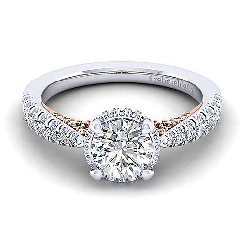 Gabriel & Co 14K White Rose Gold Round Diamond Engagement Ring  ER14009R4T44JJ