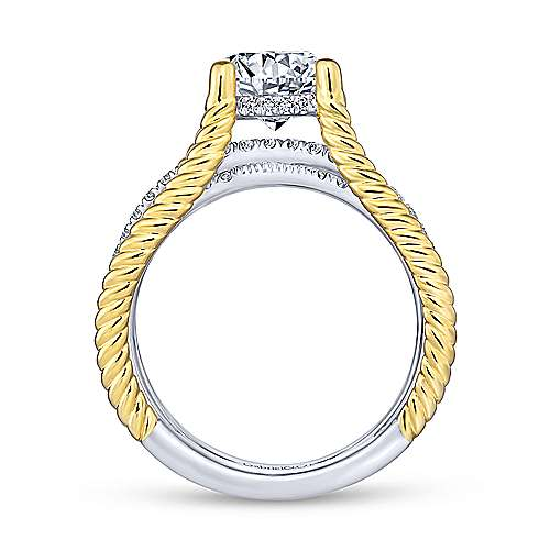 Gabriel & Co 14K White Yellow Gold Free Form Round Diamond Engagement Ring ER14048R6M44JJ