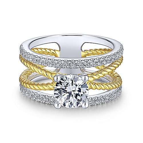 Gabriel & Co 14K White Yellow Gold Free Form Round Diamond Engagement Ring ER14050R4M44JJ