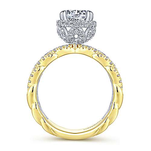 Gabriel & Co 14K White Yellow Gold Round Diamond Engagement Ring  ER14071R6M44JJ