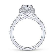 Gabriel & Co 14K White Gold Cushion Halo Round Diamond Engagement Ring  ER14412R4W44JJ