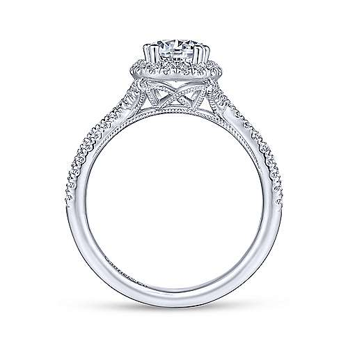 Gabriel & Co 14K White Gold Pear Shape Halo Diamond Engagement Ring  ER14425P4W44JJ