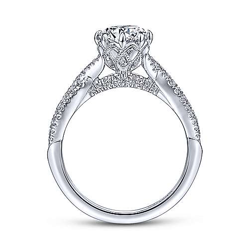 Gabriel & Co 14K White Gold Round Diamond Engagement Ring ER14426R4W44JJ