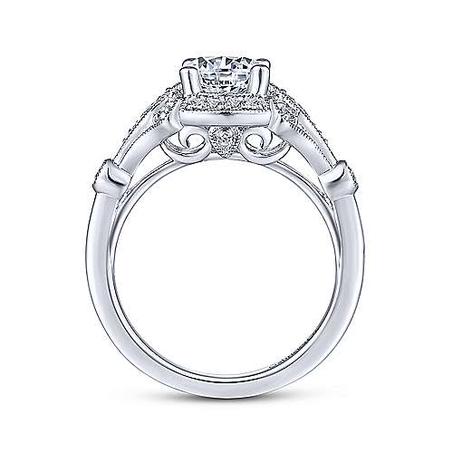 Gabriel & Co Unique 14K White Gold Art Deco Halo Engagement Ring  ER14430R4W44JJ