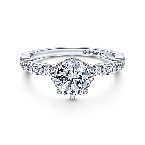 Gabriel & Co 14K White Gold Round Diamond Engagement Ring  ER14432R4W44JJ
