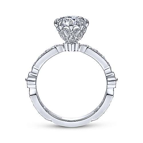 Gabriel & Co Vintage 14K White Gold Round Diamond Engagement Ring  ER14438R4W44JJ