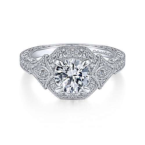 Gabriel & Co Art Deco 14K White Gold Round Halo Diamond Engagement Ring  ER14440R4W44JJ