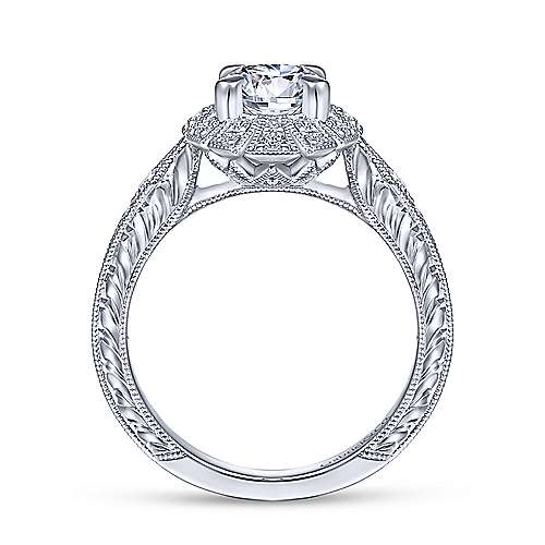 Gabriel & Co Unique 14K White Gold Art Deco Halo Engagement Ring  ER14445R4W44JJ