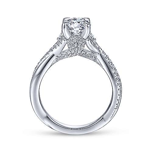 Gabriel & Co 14K White Gold Round Diamond Engagement Ring ER14448R4W44JJ