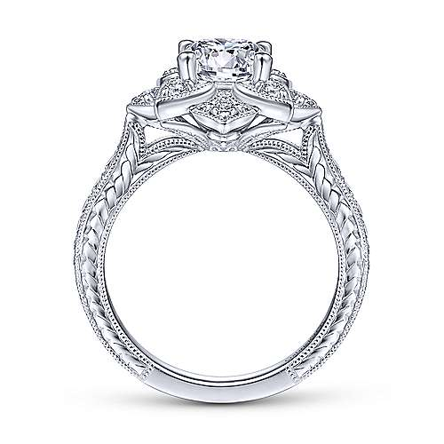 Gabriel & Co Unique 14K White Gold Halo Diamond Engagement Ring ER14451R4W44JJ