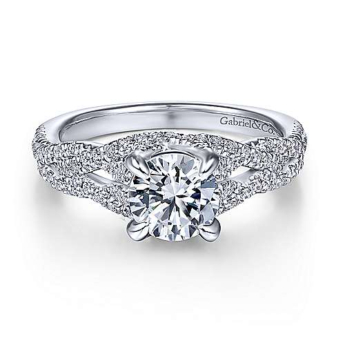 Gabriel & Co 14K White Gold Round Diamond Engagement Ring ER14458R4W44JJ