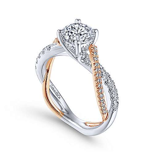 Gabriel & Co 14K White-Rose Gold Round Diamond Twisted Engagement Ring ER14460R4T44JJ