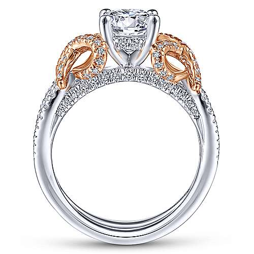 Gabriel & Co 14K White-Rose Gold Round Diamond Twisted Engagement Ring ER14464R4T44JJ