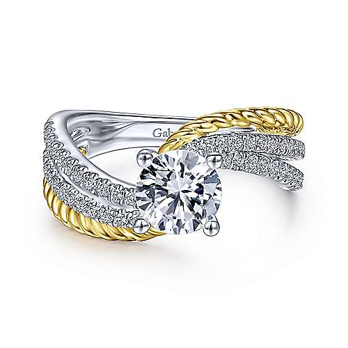Gabriel & Co 14K White Yellow Gold Round Diamond Engagement Ring  ER14468R4M44JJ