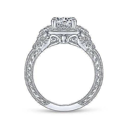 Gabriel & Co Vintage 14K White Gold Round Halo Diamond Engagement Ring  ER14482R4W44JJ
