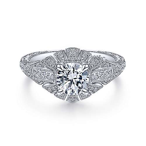 Gabriel & Co Vintage 14K White Gold Round Diamond Engagement Ring  ER14492R4W44JJ