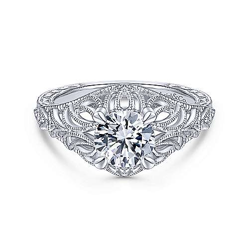Gabriel & Co 14K White Gold Round Diamond Engagement Ring  ER14493R4W44JJ