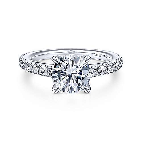 Gabriel & Co 18K White Gold Round Diamond Engagement Ring  ER14521R6W83JJ