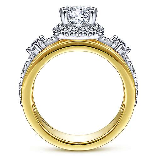Gabriel & Co 14K White Yellow Gold Cushion Halo Round Diamond Engagement Ring  ER14608R4M44JJ