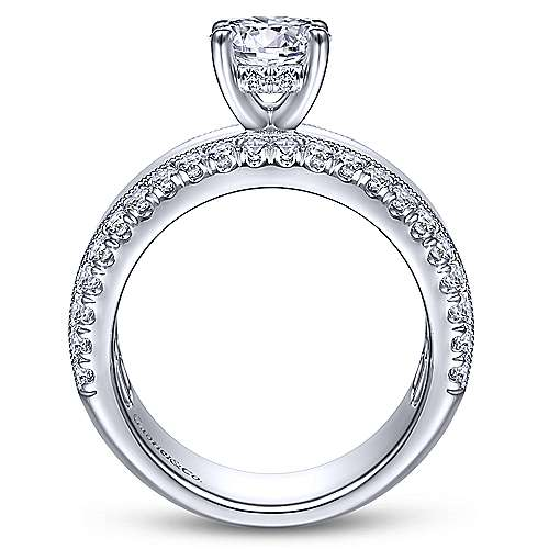 Gabriel & Co 14K White Gold Round Diamond Wide Band Engagement Ring  ER14611R4W44JJ