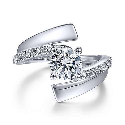 Gabriel & Co 14K White Gold Round Bypass Diamond Engagement Ring ER14613R4W44JJ