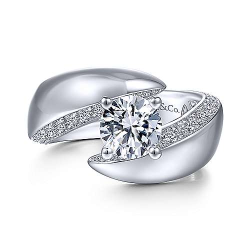 Gabriel & Co 14K White Gold Round Bypass Diamond Engagement Ring ER14614R4W44JJ