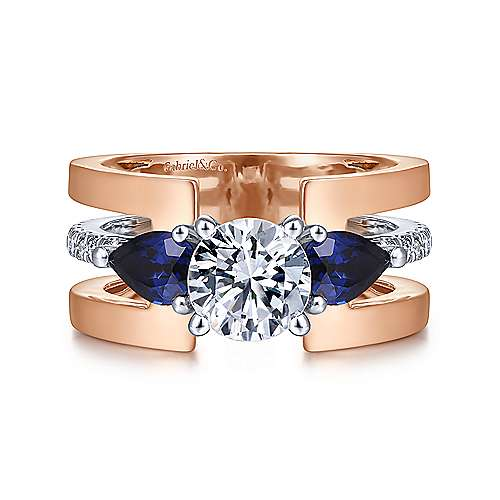 Gabriel & Co 14K WhiteRose Gold Round 3 Stone Sapphire and Diamond Engagement Ring  ER14621R4T44SA