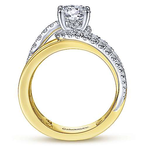 Gabriel & Co 14K WhiteYellow Gold Round Bypass Diamond Engagement Ring ER14632R4M44JJ