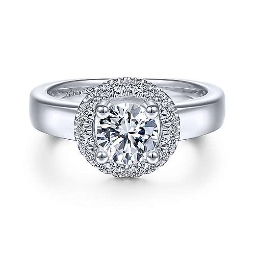 Gabriel & Co 14K White Gold Round Diamond Halo Engagement Ring ER14636R4W44JJ
