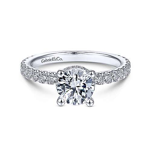 Gabriel & Co 14K White Gold Round Diamond Engagement Ring  ER14649R4W44JJ
