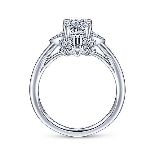 Gabriel & Co 14K White Gold Oval Diamond Halo Engagement Ring ER14724O4W44JJ