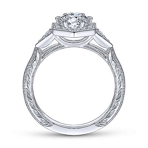 Gabriel & Co 14K White Gold Round Diamond Halo Engagement Ring ER14761R3W44JJ