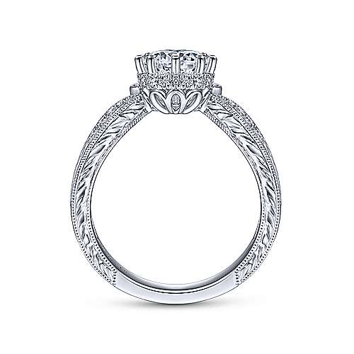 Gabriel & Co Vintage 14K White Gold Round Curved Diamond Engagement Ring ER14765R3W44JJ