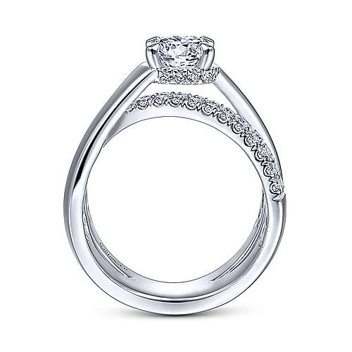 Gabriel & Co 14K White Gold Round Criss Cross Shank Diamond Engagement Ring ER14963R4W44JJ