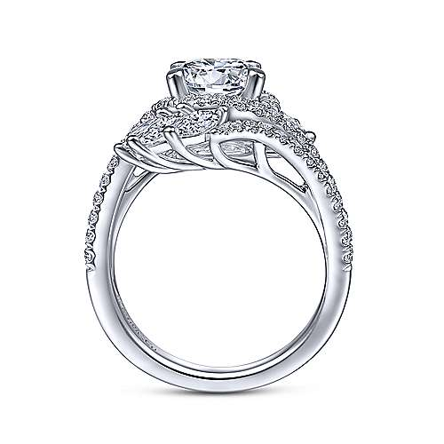 Gabriel & Co 14K White Gold Round Halo Diamond Bypass Engagement Ring ER14967R6W44JJ