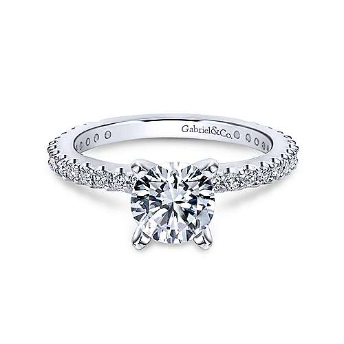 Gabriel & Co 14K White Gold Round Diamond Engagement Ring  ER4124W44JJ