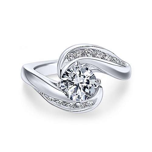 Gabriel & Co 14K White Gold Round Bypass Diamond Engagement Ring ER4309W44JJ