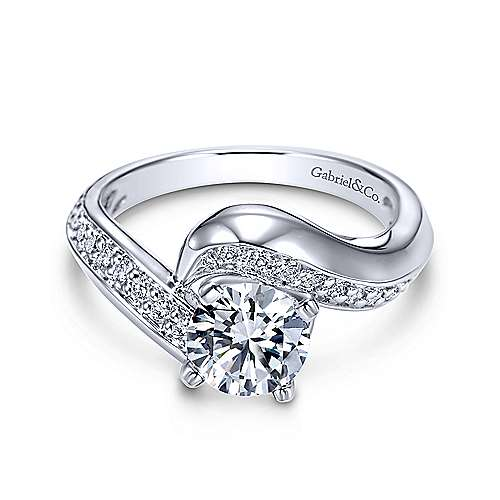Gabriel & Co 14K White Gold Round Bypass Diamond Engagement Ring ER5323W44JJ