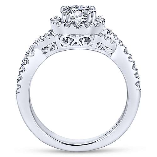 Gabriel & Co 14K White Gold Round Diamond Halo Engagement Ring ER5798W44JJ