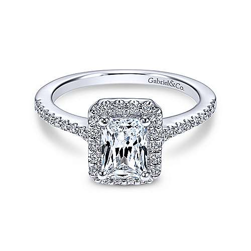 Gabriel & Co 14K White Gold Emerald Cut Diamond Halo Engagement Ring ER5822W44JJ