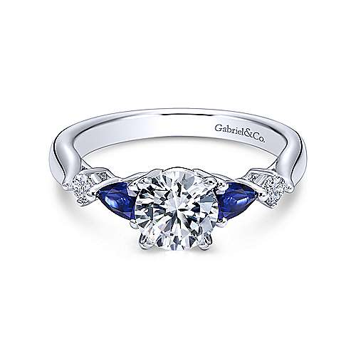 Gabriel & Co 14K White Gold Round Three Stone Sapphire and Diamond Engagement Ring  ER6002W44SA