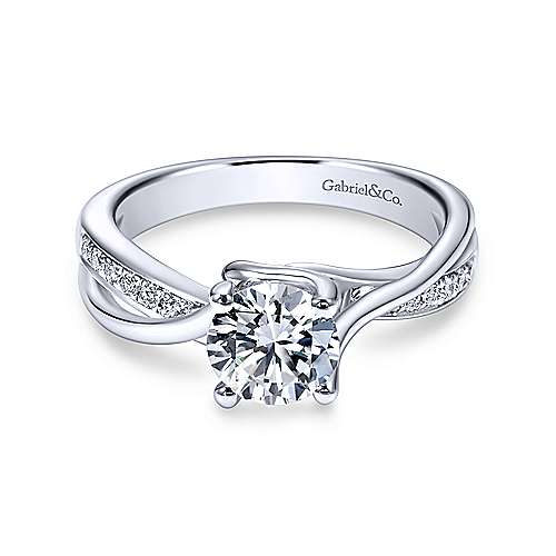 Gabriel & Co 14K White Gold Round Bypass Diamond Engagement Ring ER6360W44JJ